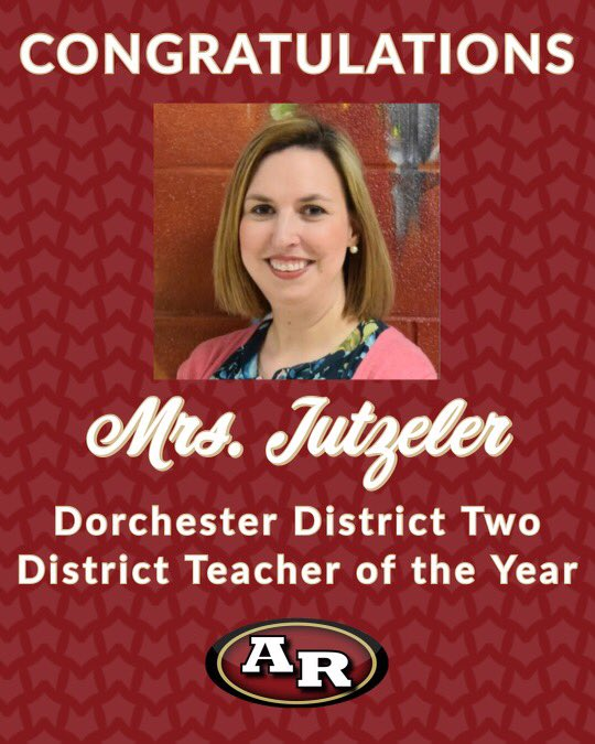 Congrats to Ms. Jutzeler for being DD2 District Teacher of the Year!