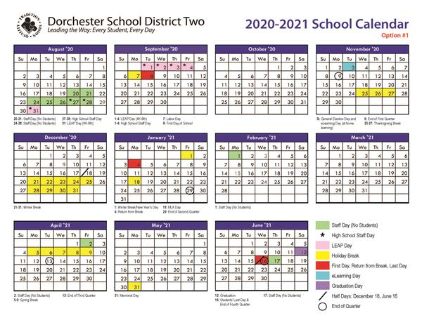 DDTwo District Calendar for the 2020 2021 School Year